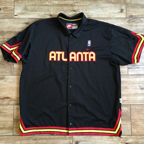 7bd71482a Nike Jackets & Coats | Atlanta Hawks Snap Button Warm Up Jacket ...